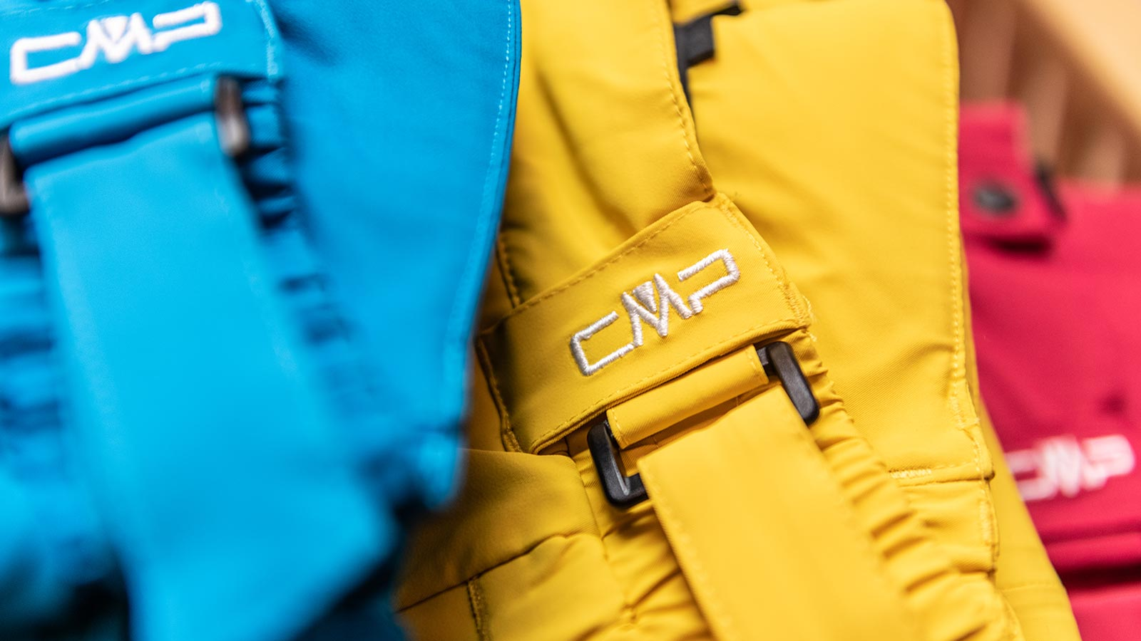 Detail of a yellow ski suit at the ski and snowboard shop in Alta Badia