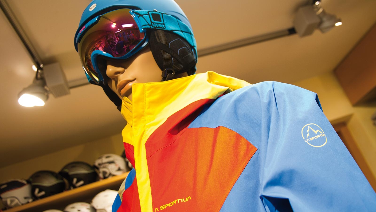 A dummy at our ski and snowboard shop in Alta Badia