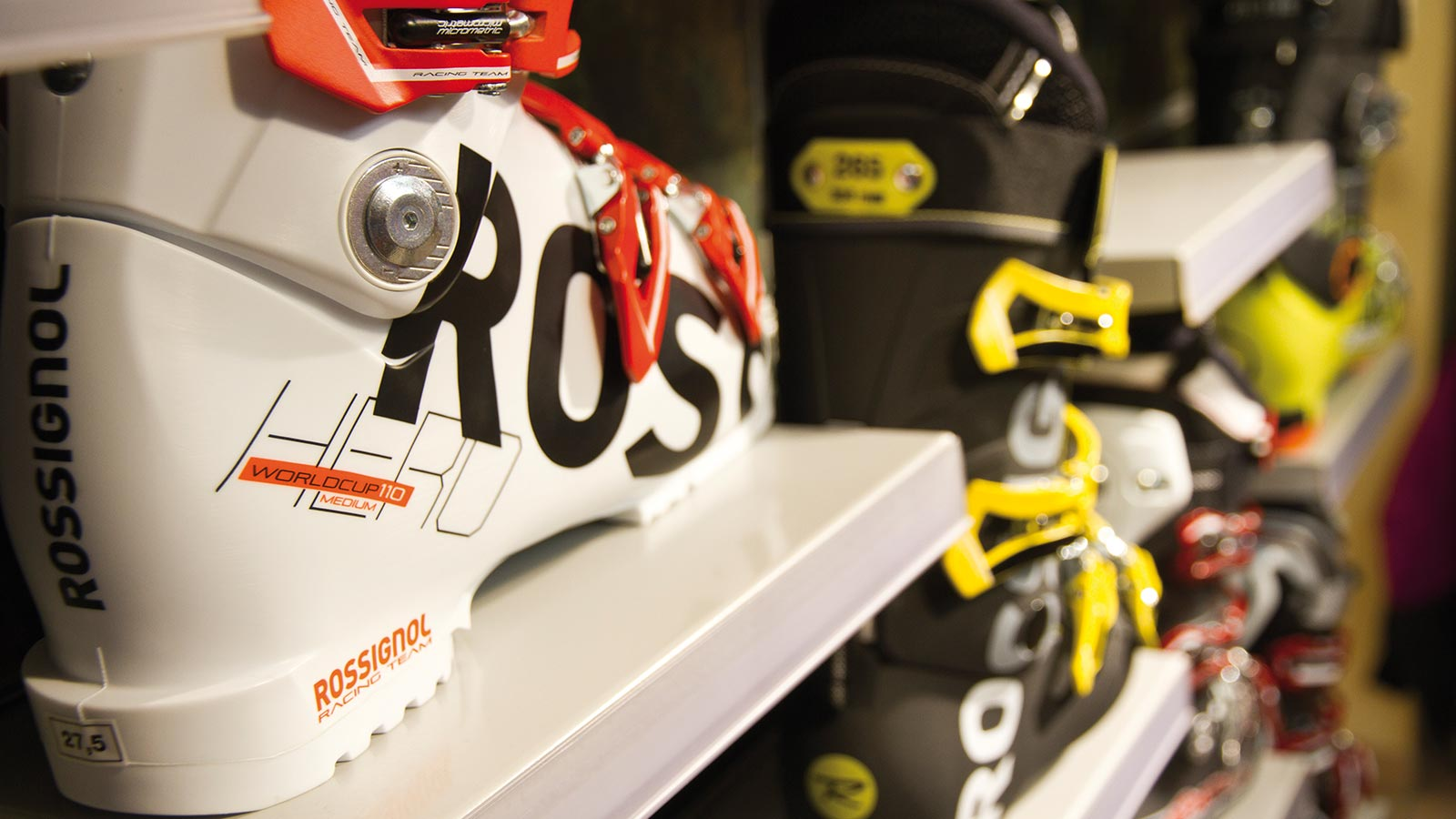 Detail on a ski boot at our ski rental and snowboard rental in Alta Badia